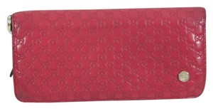Gucci Auth Gucci Red Micro Guccissima Leather Clutch Continental Wallet