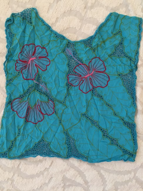 Other Vintage Hawian Top turquoise