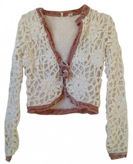 Preload https://img-static.tradesy.com/item/17404/anthropologie-cream-and-dusty-pink-tie-front-sweaterpullover-size-0-xs-0-0-650-650.jpg
