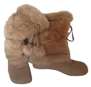 Bumper Leather Faux Fur Beige Boots