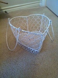 White Vintage Distressed Heart-shaped Flower Girl Basket