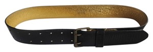 Dries Van Noten DRIES VAN NOTEN BLACK & GOLD LEATHER BUCKLE BELT