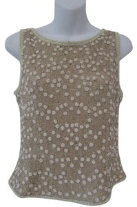 Adrianna Papell Embellished Top Beige