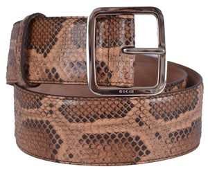 Gucci New Gucci Women's 354376 Brown Python Snakeskin Belt 34 85