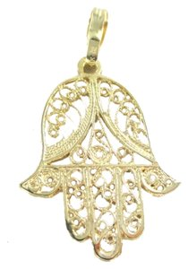 14K SOLID YELLOW GOLD PENDANT HAMSA HAND OF GOD FATIMA GOOD LUCK PROTECTION