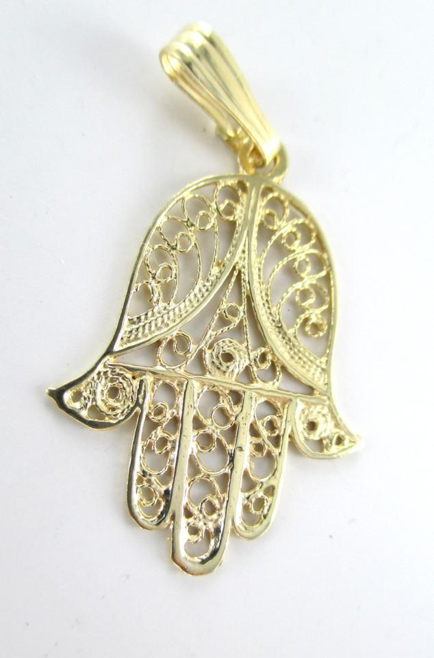 14k solid yellow gold pendant hamsa hand of god fatima good luck 14k solid yellow gold pendant hamsa hand of god fatima good luck prote tradesy aloadofball Gallery