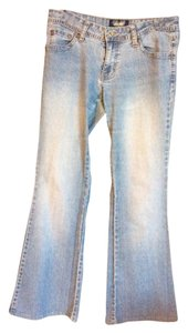 Angels Jeans Embroided Flare Leg Jeans-Light Wash
