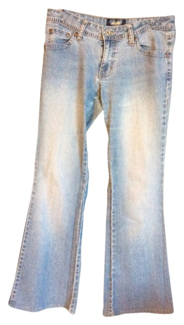 Angels Jeans Embroided Double Belt Loops Below The Waist Regular Fit Flare Leg Jeans-Light Wash