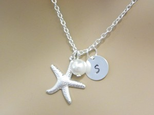White Cream Sterling Silver Chain Starfish Necklace