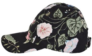 Gucci NEW Gucci Women's Black Flora Knight Floral Canvas Baseball Hat Large