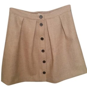 J.Crew Wool Button Front Flare Skirt Tan