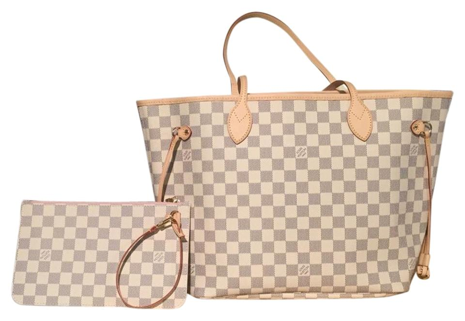 louis vuitton neverfull today only 2016 damier azur mm rose ballerine interior white leather. Black Bedroom Furniture Sets. Home Design Ideas