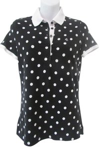 Ralph Lauren White Polka Dot Polo Shirt Top Black
