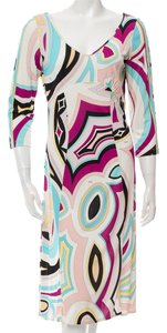 Emilio Pucci Longsleeve Sheath Logo Print Dress