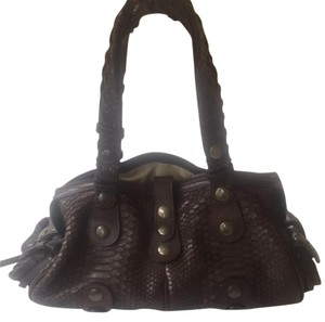 Chloé Python Leather Brass Satchel in Brown