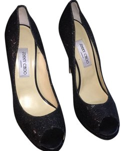 Jimmy Choo glitter fabric black Platforms