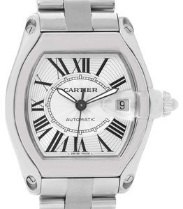 Cartier Cartier Roadster Mens Silver Dial Watch W62025V3 Box Papers Strap