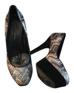 Jessica Simpson Black/Silver/Copper Platforms