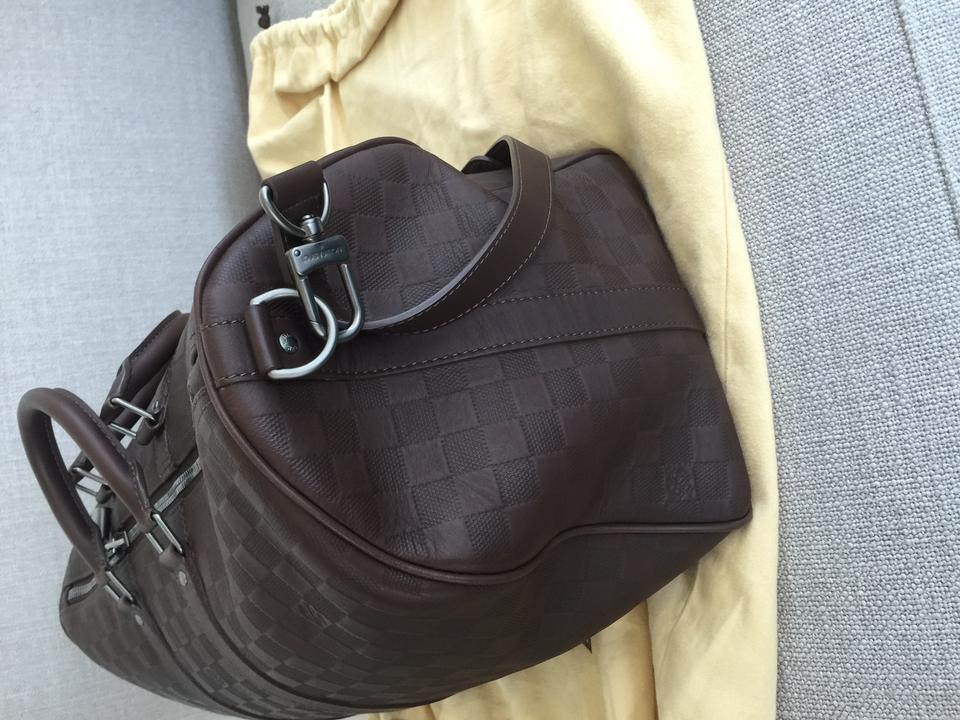 a356b39d5087 Louis Vuitton Keepall Bandouliere 45 Damier Infini Brown Leather ...