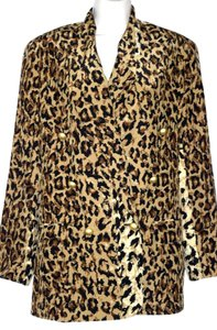 Bloomingdale's Dressy Jacket Black Lining Gold Buttons Silk Leopard Print Blazer