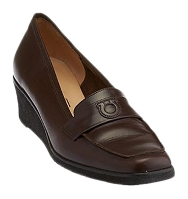 Item - Brown Women's Leather Loafer Wedges B (29498) Formal Shoes Size US 8.5 Regular (M, B)