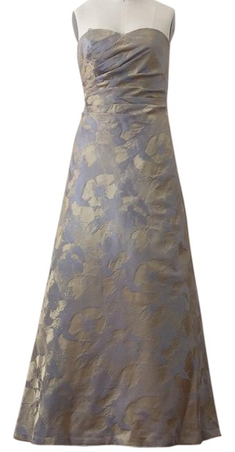 Item - Silver Blue and Gold Gown Long Formal Dress Size 4 (S)