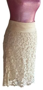 Cotton Drop Waist Skirt Cream Lace