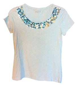 Charter Club Sequins Cap Sleeve Light Weight T T Shirt Turquoise