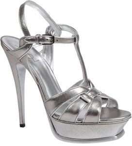Saint Laurent Ysl Tribute Silver Sandals