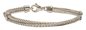 David Yurman David Yurman Sterling Crossover Bracelet w/ Diamonds L
