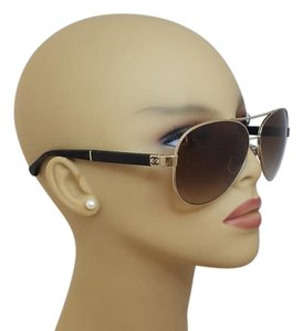 fc13ff7489 Chanel Chanel Gold and Brown Pilot Leather Quilting Aviator Sunglasses  4195Q C395 3B