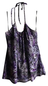 IZ Byer California Animal Print Tie Beads Purple, Black, White Halter Top