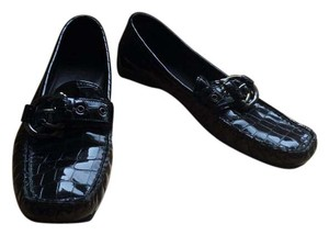 Stuart Weitzman Patent Leather Crocodile Loafers Flats Black Formal