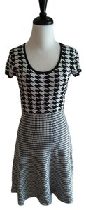 Saks Fifth Avenue short dress Black and White Houndstooth Fit Flare Knit on Tradesy