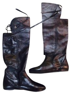 Walter Bauer Leather Boot Knee High Black Boots