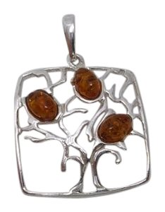 925 Silver Tree of Life Square Pendant w Amber Gemstones No chain