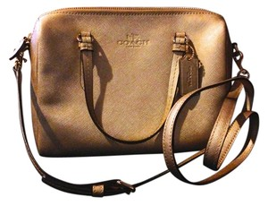 Coach Saffiano Leather Satchel in Gold