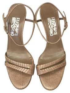 Salvatore Ferragamo Snakeskin Leather Nude Heel Nude/ Tan Sandals