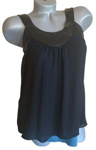 BCBGMAXAZRIA Babydoll Top Black & Teal