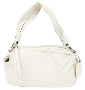 Coach Leather Twisted Hobo Silver Shoulder Bag