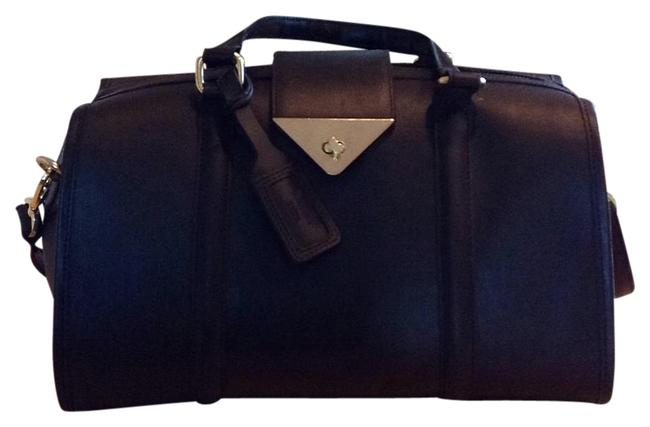 Item - 2260505977001 Black with Gold Accents Real Leather Satchel