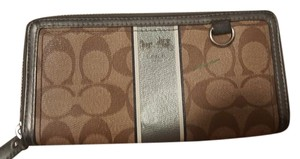 Coach Wallet Checkbook Monogram Wristlet in Tan and Silver