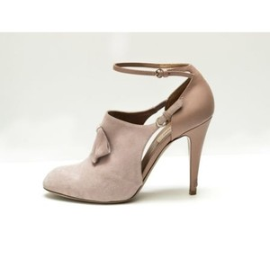 Valentino Suede Ankle Strap Mary Jane Beige Boots