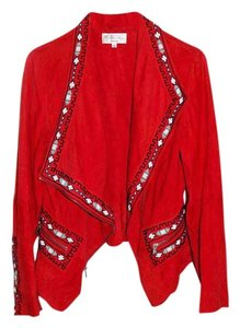Tasha Polizzi Suede Beaded Red Leather Jacket