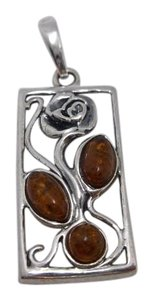 Other Rose w Amber Gemstones on 925 Silver Rectangle Pendant No Chain w Free Shipping