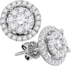 Ladies Luxury Designer 14k White Gold 0.97 Cttw Diamond Stud Fashion Earrings By BrianGdesigns