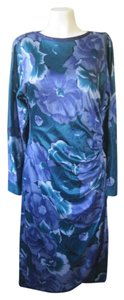 Italian Designer Dress Vintage 1980s Ruching Flowers Floral Turquoise Royal Blue Italy Dress