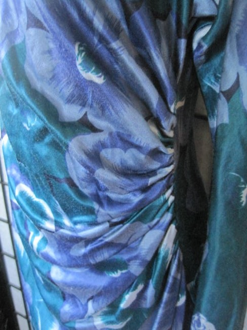 Italian Designer Dress Vintage 1980s Ruching Flowers Floral Royal Italy Dress