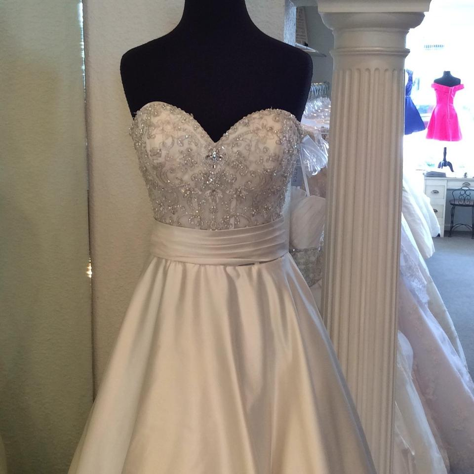 Allure bridals ivory satin traditional wedding dress size for Wedding dress with buttons all the way down