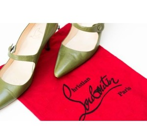 Christian Louboutin Mary Jane Vintage Fall Stiletto Pointed Toe Green Pumps
